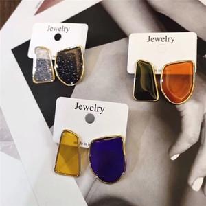 MENGJIQIAO 2019 Nueva geométrica Asimetría gota coloridos del esmalte Pendientes de moda para las mujeres delicado Boucle D'oreille regalos lindos