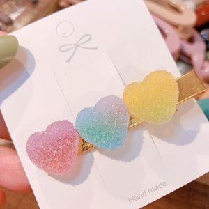 Kadınlar BJJ228 için 3 renk Yeni Kore Tatlı Kalp Şeker Renk Minimalist saç tokası saç Tutma Güzel Tokalarım saç pimleri aksesuarlar