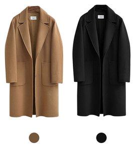 Más el tamaño 5XL mujeres Streetwear Moda suelta Coats Cintura ancha de lana larga de las señoras abrigos Mezclas diseño del bolsillo del abrigo ropa de las mujeres