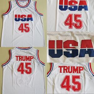 Hombre 45 Donald Trump Movie Basketball Jersey Jersey Equipo de Dream One Fashion 100% STITCHED CAMISETAS CAMISETAS BLANCO ENVÍO GRATUITO