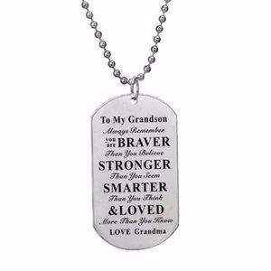 12 шт. / лот вдохновляющий подарок для внука всегда помните, что вы храбрее любите бабушку ожерелье собака бирка кулон из нержавеющей стали