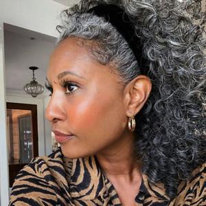 Moda Belleza Afroamericano Humano Pelo Lugar de caballo Plata Gris Poty Tail Extension Pinza de la Hoquilla En Gris Afro Rizado Peinados
