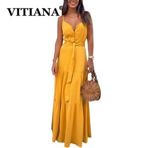 Vitiana Women Long Beach Summer Dress 2020 Button Femme Abiti Donna senza maniche Backless partito giallo sexy sexy Vestiti partito