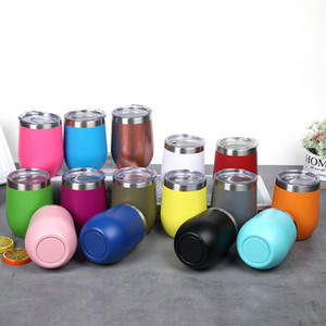 Hot 25 Styles 12 oz Egg Shaped Mug Double Wall Stainless Steel Cup Insulated Vacuum Wine Tumbler Coffee Beer Cups