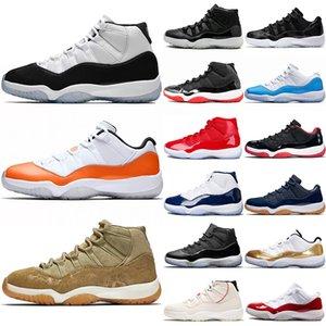 Nike Air Jordan Retro 11s calçados de basquete 11 mulheres dos homens concorde 45 orange transe cap e vestido de oliva lux platina matiz unc ginásio vermelho trainer