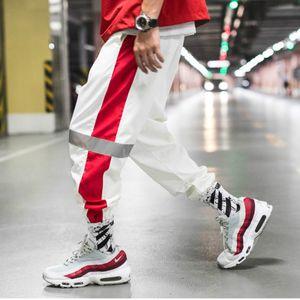 YASUGUOJI Seite Gestreiften Pluderhosen Männer 2019 Herren Reflektierende Jogger Hosen Männlichen Streetwear Mode Weiß Vintage Jogginghose