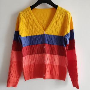 Milan Runway Sweater 2020 V Neck Long Sleeve High End Jacquard Cardigan Women Designer Sweater 0706-8