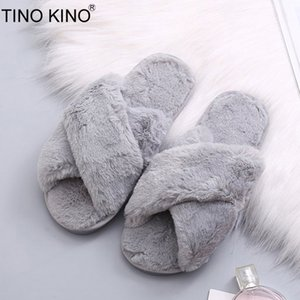 TINO KINO Winter Women Home Slippers Warm Fluffy Faux Fur Ladies Cross Soft Plush Furry Female Open Toe Shoes Fashion Female MX200425