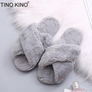 TINO KINO Kış Kadınlar Ev Terlik Sıcak Kabarık Faux Kürk Bayan Çapraz Yumuşak Peluş Kürklü Kadın Açık Burun Ayakkabı Moda Kadın MX200425