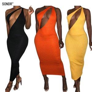SONDR Sexy Elegante um ombro BODYCON Midi Mulheres vestido de roupa sem mangas elegante Bandage Partido Night Club Vestidos Feminino