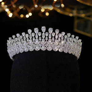 Bridal Bridal di lusso Crystal Fashion Headdress Queen Wedding Crown Gioielli di nozze Accessori per capelli Tiara Zircone Corona Partecci