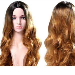 Lange Spitze-Front synthetische Perücken blonde ombre Perücke dunkle Wurzel 1B # 27 # 30 # Körperwelle Perücken Brasilianisches Haar synthetische Spitze Front resistent Wig beheizen