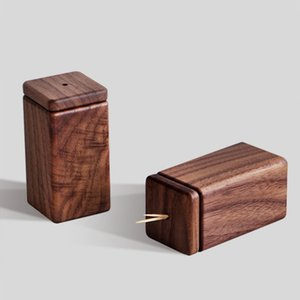 Classical country style black walnut toothpick box Creative wooden home toothpick holder