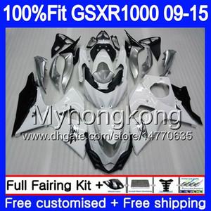Inyección para SUZUKI GSX R1000 K9 GSXR 1000 09 10 11 12 13 15 16 302HM.14 GSXR1000 2009 2010 2011 2014 2014 2015 2016 Carenado blanco