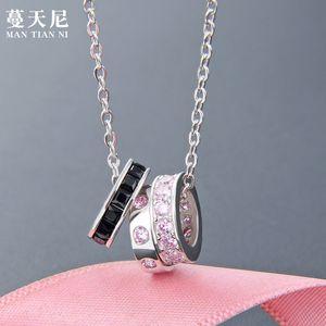 Necklace Colar de Prata Shih S925 Sterling Três-Ring Diamond Circle pequeno perfumado vento pingente de diamante-mesmos conjuntos parágrafo do Cadeia