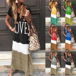 Plus Size Women Designer Dresses V Neck Woman Summer Clothes Love Print Patchwork Loose Long Ladies Dress Short Sleeve Casual Dresses