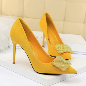 2020 Women 9.5cm High Heels Crystal Buckle Glitter Pumps Lady Wedding Green Yellow Blue Heels Female Scarpins Valentine Shoes