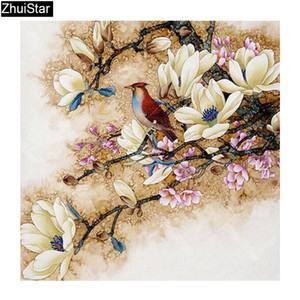 5D DIY diamante Flores da pintura Needlework Kit Diamante Bordado Pássaro completa Praça Pedrinhas Cross Stitch Home Decor XY1