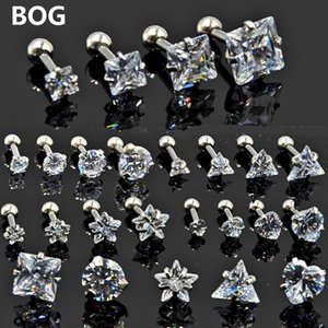 BOG-5PCS Hot Sale Round Star Heart Square Triangle Mixed Silver Zircon Gem Ear Tragus Cartilage Earring Body Piercing Jewelry16g