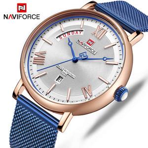 NAVIFORCE 2019 de Moda de Nova Mens de quartzo relógios para homens de aço inoxidável Mesh Belt impermeável relógio de pulso Relogio Masculino
