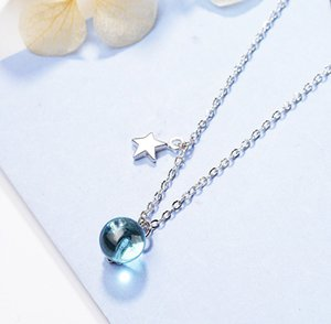 Advanced New Brand Fashion Jewelry Blue Bead starry sky Necklace clavicle Chain Pendant Necklace Beautiful For Women Charm Necklace Gift