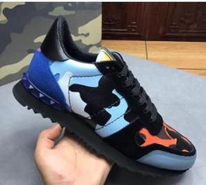 19s Sıcak New Men Yıldız Çivili Ayakkabı Mesh Deri Kamuflaj Çivili Ayakkabı Combo Yıldız Rockrunner Metalik Dantel-up Ayakkabı Sneakers