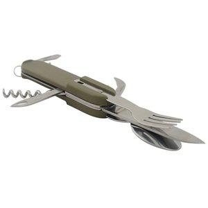 Multi-Function Camping Picnic Cutler Tableware Stainless Steel Fork Knife Spoon Bottle Opener Folding Utensil Tool Kit