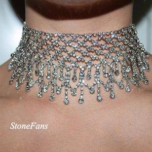 Hoker colares Multilayers Tassel Rhinestone Choker colares indicação para o Partido Mulheres Moda chockers Jóias 2018 Collar casamento Nec ...