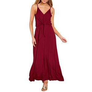 Без рукавов Maxi длинное платье Женщины Bandage Party Robe Bridesmaids Longue Femme Boho Red Black Club Sexy Lady платья V шеи