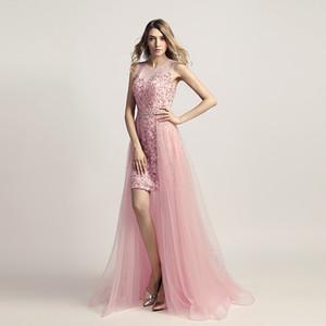 2018 elegante rosa organza prom dresses gioiello cava posteriore abiti da sera perline detachbale trian abiti da sera abiti formales de noche