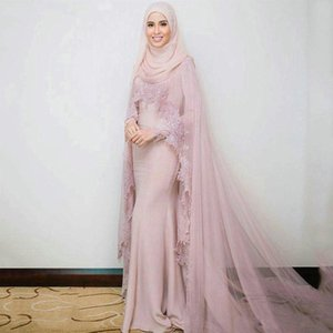 Vintage Long Sleeves Muslim Evening Dresses with Scarf Islamic Dubai Kaftan Saudi Arabic Long Prom Gown
