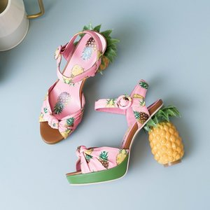 brand novelty fashion pineapple heel pumps sexy open toe leather sandals women party date shoes platform sandals zapatos mujer Y200702