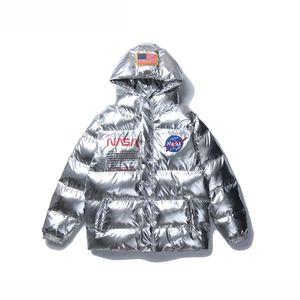 NASA Дизайн Мужчины Зима вниз пальто хлопка-проложенный Взрослые Куртки и пиджаки Hoodie Tops Теплая одежда