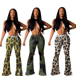 Yeni Kamuflaj Leopaid Baskılı Delikler Kadınlar Pantolon Alev Casual Bell Alt Pantolon Tam Boy İlkbahar Sonbahar