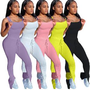 Kadınlar Tulum Yeni Patlayıcı Katı Renk Backless Pileli Seksi Moda İnce Bayan tulum 2020 C0699