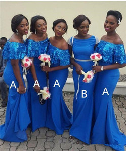 Charming Mermaid Bridesmaid Dresses Strapless Short Sleeves Sequins Maid Of The Honor Dress Back Zipper Women Formal Party Gowns Z102