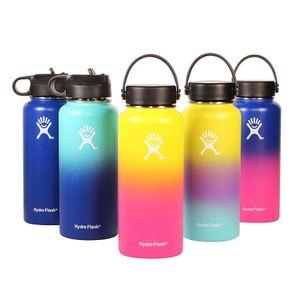 32 Unzen Wasserflasche Flasche Wasserflaschen Edelstahl-Wasser-Isolation Vakuum Mund weit Thermal Flaschen tragbare Reise-Thermoflasche
