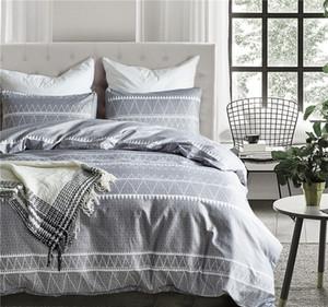 Bohemian Soft Soft Cozy Cover Cover Set Lightweight Soft Grey Triangle 3PC Couvre-Couvre Set Qualité de l'hôtel