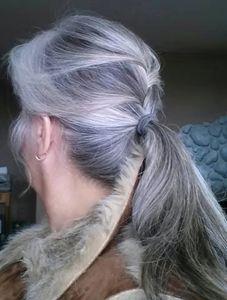 mette in evidenza naturale sale e pepe grigio argento coda di cavallo estensione dei capelli capelli coda di cavallo grigio umani coulisse impacchi