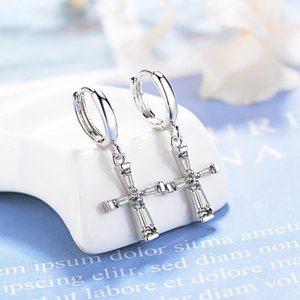 Real 925 Sterling Silver CZ Cross Charm Drop Small Circle Huggies Hoop Earrings Cute Jewelry For Women Girls Kids Children Gift