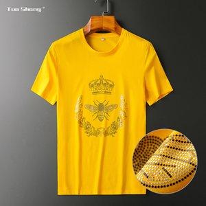 2020 tuoshang European light luxury mercerized cotton T-shirt men's Little Bee crown men's round collar short sleeves J6VU