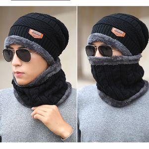 Hat Beanie Scarf Set malha chapéus mornos Thicken chapéu do inverno para homens e mulheres Unisex Cotton Beanie malha Caps CNY848