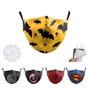 10 PCS Kapitän Batman Spiderman Superheld Designer Luxus Kid Gesichtsmaske Partei Cosplay Schild wiederverwendbare Staubwinddichtes Kind-Baumwollmasken