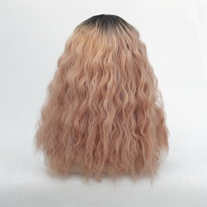 Women's color matching front lace chemical fiber hair half-hand hook fashion wig hood black + orange curly water ripple