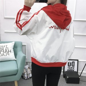 2019 autumn casual loose contrast color hooded short Jacket short coat coat women's thin all-match long sleeve top