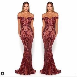 Scarlett Mermaid Balo Pagenat Elbiseler 2019 Seksi kapalı omuz Tam boy bordo zümrüt avcı Yousef Aljasmi Amaçlar Akşam elbise