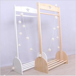Ins Nordic Windstar hanger Children's clothing store solid wood simple hanging floor hanger children's room display shelf