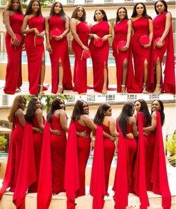 Rosso una spalla sirena abiti da sposa in raso lungo 2020 africano increspato alta Split Plus Size Wedding Guest cameriera d'onore Abiti BM1921
