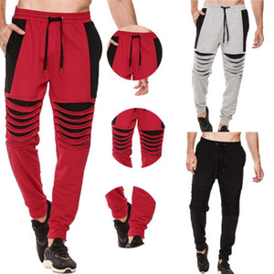 Moda para hombre empalmado Pantalones Lápiz Pantalones 2018 Deporte gimnasio Nueva informal chándal flaco Joggers sudor pantalones de moda S-2XL