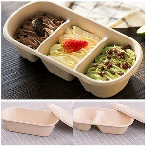 Einweg-Take Out Container Abbaubare Pulp Salat Fast Food Lunch Box Eco-friendly Abbaubare Einweg Schüssel Speisen Geschirr BH1760 TQQ